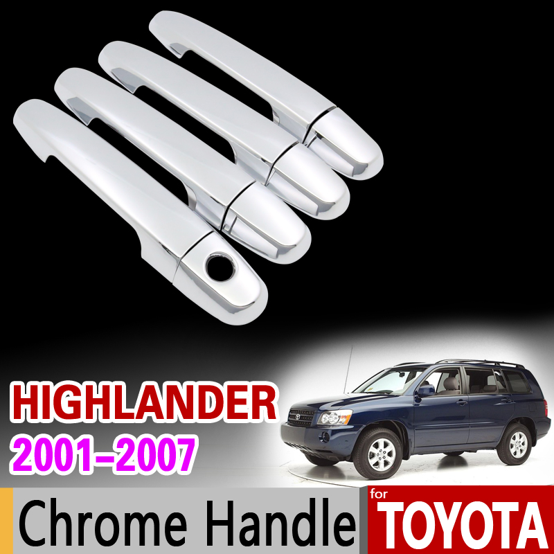 for Toyota Highlander 2001 - 2007 XU20 Chrome Handle Cover Trim Kluger 2002 2003 2004 2005 2006 Accessories Sticker Car Styling for toyota isis platana 2004 2015 chrome handle cover trim set 2005 2006 2007 2008 2010 2012 2013 2014 accessories car styling