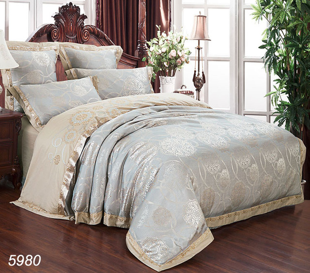 Silver Gray Silk Bedding Set Embroidered Tribute 4pcs Designer Bedding  Satin Bed Set King Queen Size