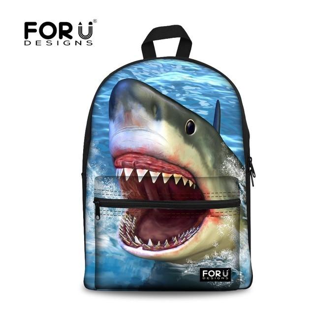 a048e2f14 Elegante 3D bajo el agua tiburón animales de impresión mochilas para  hombres mochila de lona de