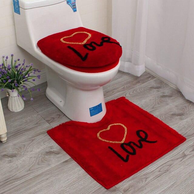 689675a007ed € 14.08 10% de DESCUENTO|3 unids/set amor rojo caliente Baño de baño  cubierta de asiento de alfombras de baño Closetool tapa baño cojín anillos  Baño ...