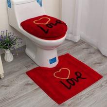 3pcs/set Red Love Warm Bathroom Toilet Set Washroom Seat Cover Bath Mat Closetool Lid Cushion Rings Potty Pad