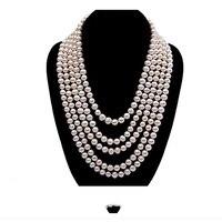 JYX Жемчуг Пять нитей 6 7 мм белый круглый натуральный пресноводный жемчуг ожерелья 17' длинный свитер цепь индийское ожерелье