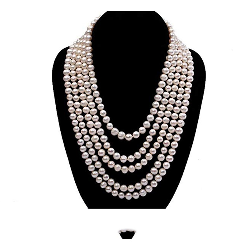 JYX Pearls Five-strand 6-7mm White Round Natural Freshwater Pearl Necklaces 17' Long Sweater Chain indian necklace imitation pearls long chain necklaces
