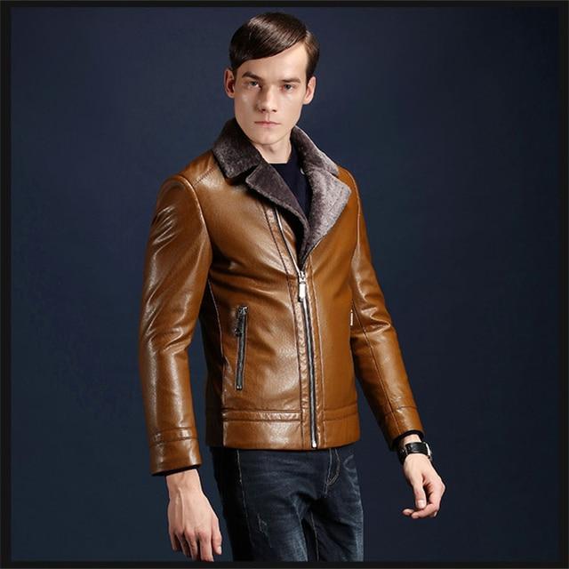 Slim Fit Thicken Fleece PU Warm Biker Coats Men 2016 Winter Fashion Faux Leather Brand Man Jackets Motocycle Style Outwear
