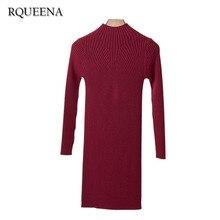 Rqueena Для женщин Повседневное Осенние наряды Половина Водолазка с длинным рукавом Мода осень-зима Для женщин Повседневное длинный вязаный Платья-свитеры