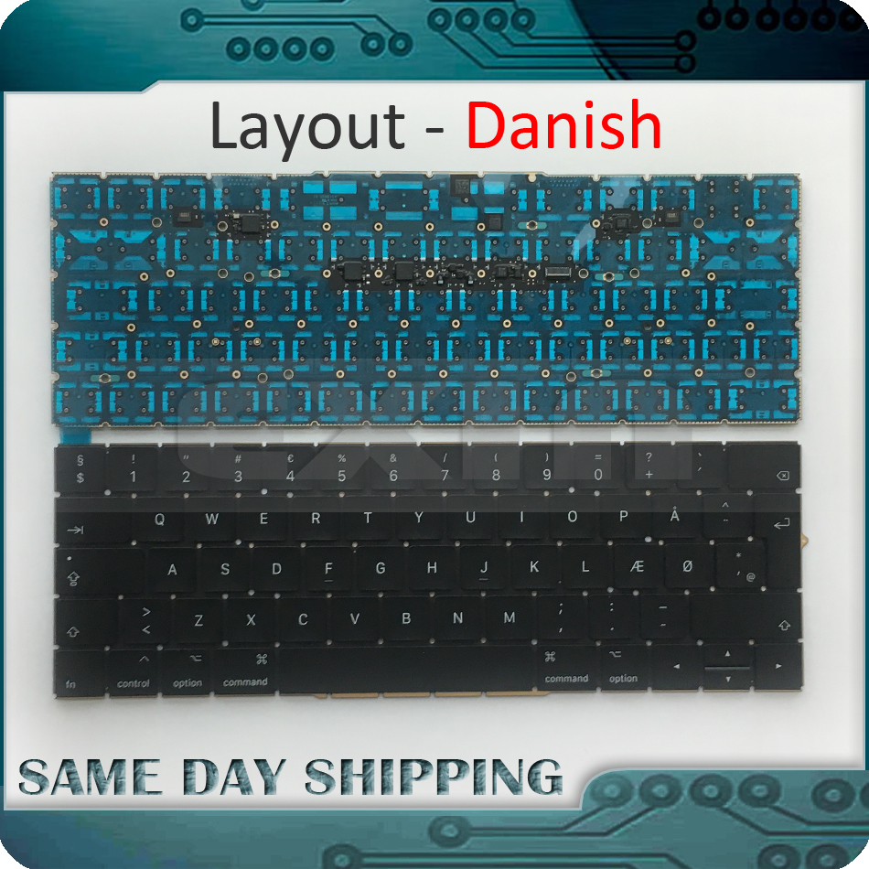 New Laptop A1706 Keyboard Danish for MacBook Pro 13.3 Retina A1706 Denish Keyboard DK Danish EU EURO Keyboard 2016 2017 Year new sp laptop keyboard for lg z330 z350 z355 black spain keyboard