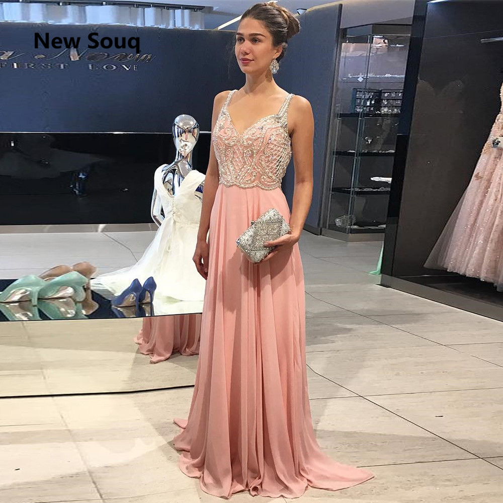Blush Pink Chiffon Prom Dresses Summer A-Line V-neck Backless Crystal Beaded Prom Dress Vestido De Fiesta Evening Gowns