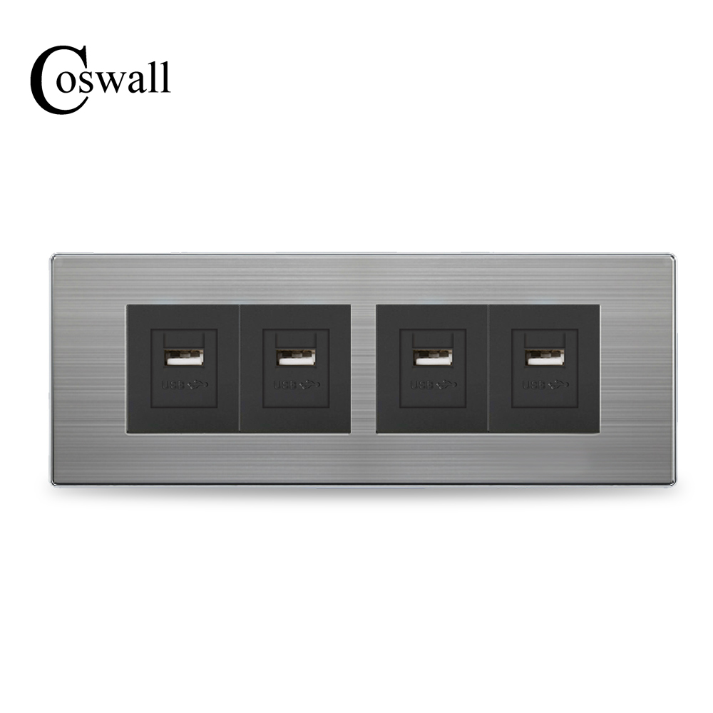 COSWALL Luxury Wall Outlet 4 Way USB Charging Port For Mobile Output...