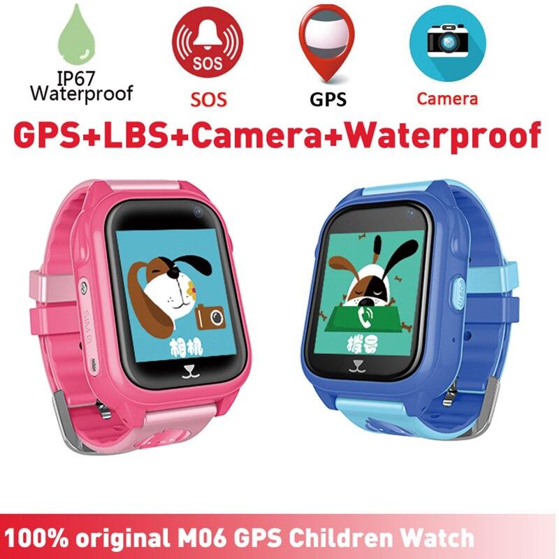 M06 IP67 Étanche Enfants Montre Smart Watch GPS Tracker avec Caméra Slot SIM SOS Extérieure Smartwatch pour Filles Garçons pour iPhone Android