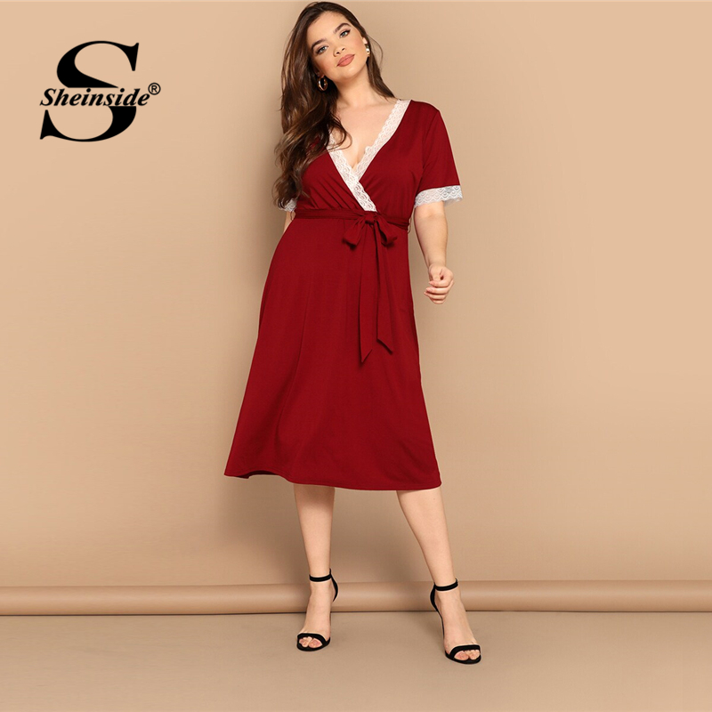 Sheinside Бургундия контрастная кружевная отделка глубокий v-образный вырез обертывание сексуальные платья для сна женские 2019 летние с коротки...