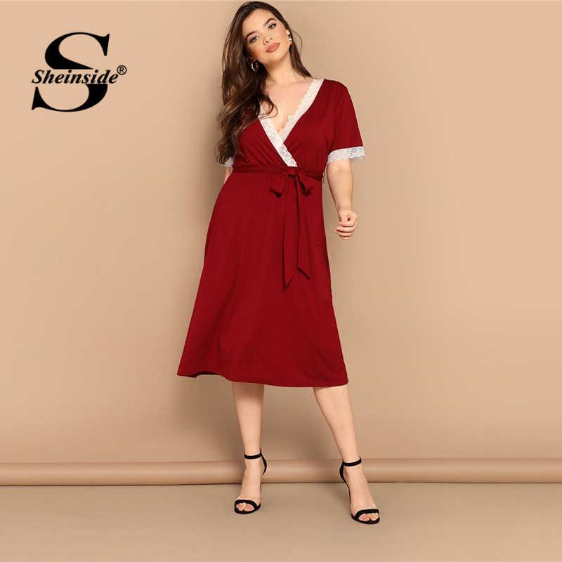 Sheinside Бургундия контрастная кружевная отделка глубокий v-образный вырез обертывание сексуальные платья для сна женские 2019 летние с коротким рукавом поясом Ночное платье