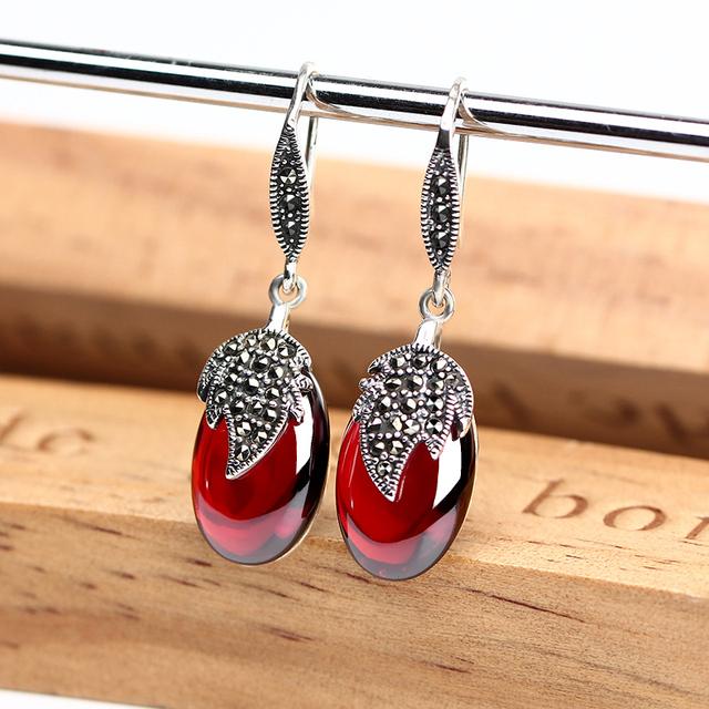 Vintage Long Silver Earrings for Women Red Garnet Leaf 925 Sterling Silver Earrings Wedding Engagement Drop Earrings Female 2018