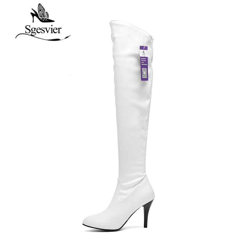 SGESVIER Women Boots 2017 Winter New Fashion Casual Sexy Over-the-Knee High Heel Round Toe Plus Size 34-47 Lady Shoes OX108 wastyx new winter over the knee boots sexy super high women boots thin heel shoes woman fashion round toe sapato feminino 34 48