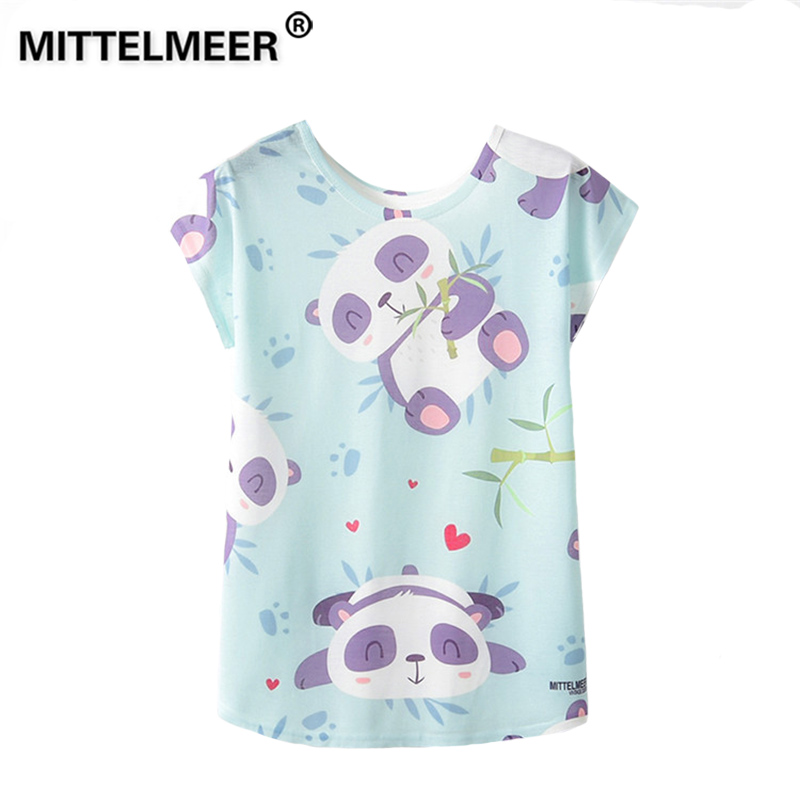 MITTELMEER 2019 Summer Harajuku kawaii t Shirt Women Girls Student Short Sleeve Cartoon panda Cactus Flamingos T-Shirts Tee
