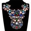 Diseño de lujo 2015 Primavera Nueva Joyería Partido de Las Mujeres Gargantillas Collar Multicolor de Cristal Joyas Grandes Collares de Los Colgantes