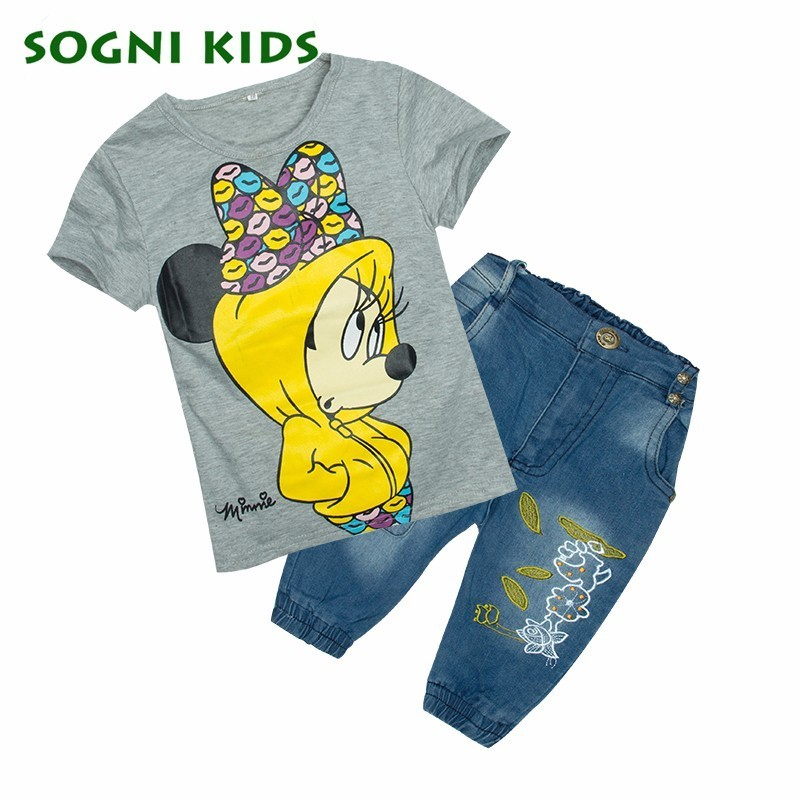 SOGNI KIDS Minnie Girls Clothing Sets 2017 Summer Cartoon Cotton T Shirts Middle Pants Toddler T-shirt Jeans Outfit For 2-7Y