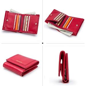 Image 4 - 100% Genuine Leather Women Wallets Short Coin Purse Card Holder Female Money Bag High Quality Mini Walet Small Carteira Feminina