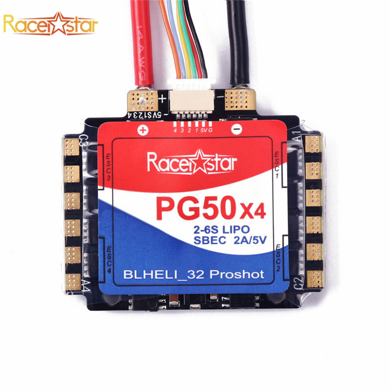 Racerstar PG50x4 50A 2-6S Blheli_32 Proshot 4 In 1 Brushless ESC SBEC 2A/5V for RC Drone FPV Racing Multirotor Speed Controller ypg 60a esc brushless speed controller 2 6s sbec for rc helicopter airplane