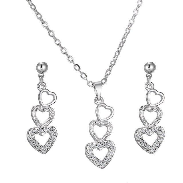 Rinhoo crystal pendant necklace earrings set for fashion women rinhoo crystal pendant necklace earrings set for fashion women wedding party jewelry set three heart silver aloadofball Image collections