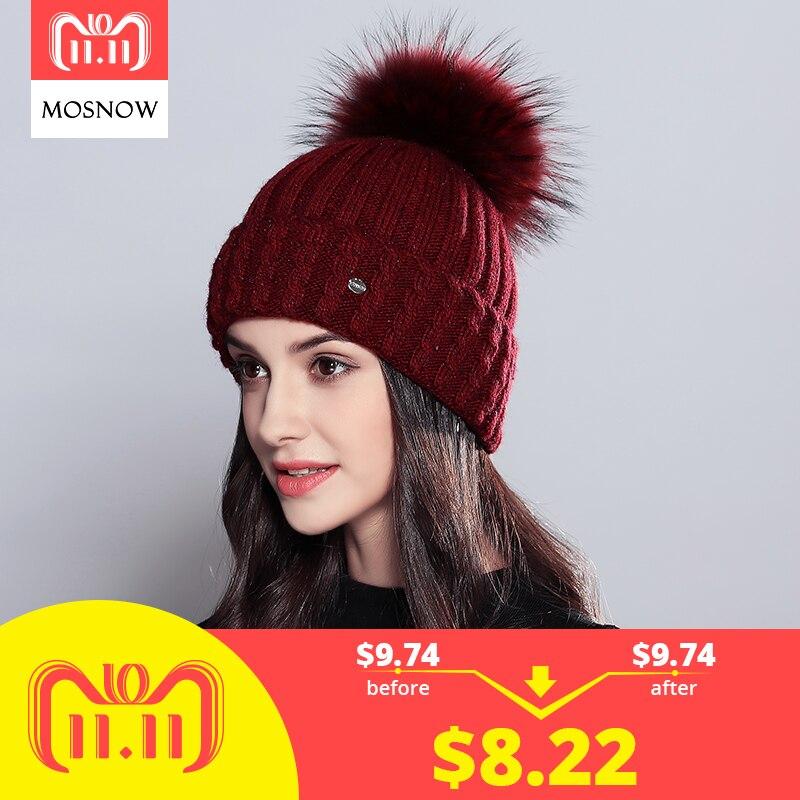 Inverno Gorro de Pele De Guaxinim Naturais Pompons Chapéu Feminino Elegante  de Lã de Malha Chapéus f5aeef83e0a