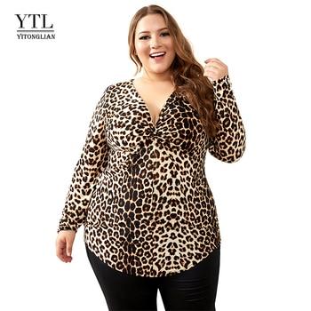 YTL Female Big Size Spring Autumn Grey Leopard Deep V Neck Long Sleeve Slim Tunic Top Large Size Blouses Women 5XL 6XL 7XL H088