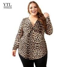 YTL 암 큰 Size 봄 가을 Grey 레오파드 (snow leopard) 딥 V 넥 긴 Sleeve Slim Tunic Top 큰 Size 블라우스 Women 5XL 6XL 7XL H088