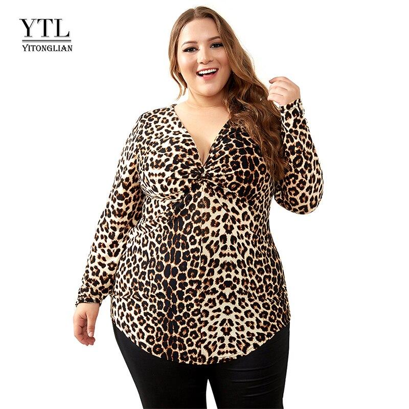 YTL mujer de gran tamaño primavera otoño gris leopardo cuello profundo en V Slim de manga larga túnica de gran tamaño, blusas de las mujeres 5XL 6XL 7XL H088