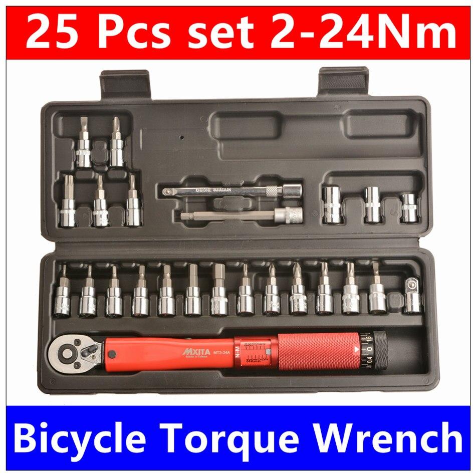 MXITA Livraison gratuite 1/4 DR 2-24Nm 25 Pcs clé dynamométrique Vélo vélo outils kit set outil de réparation de vélo clé Ensemble d'outils à main set