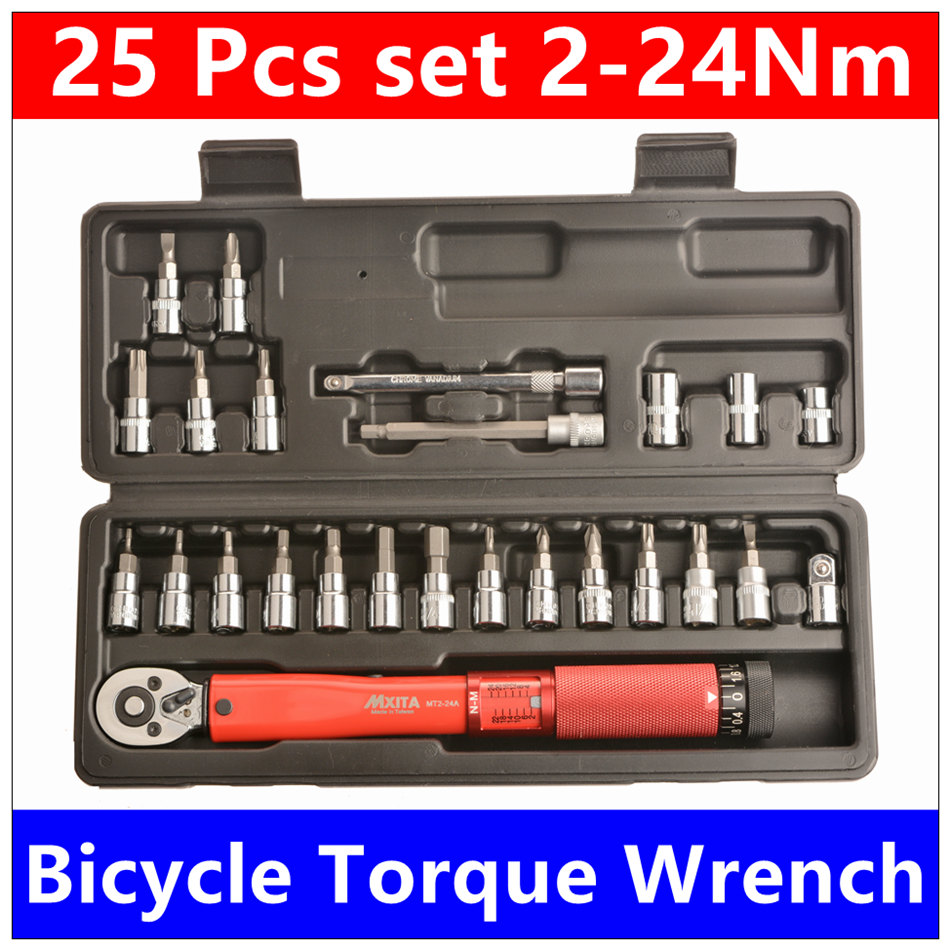MXITA Free shipping 1/4DR 2-24Nm 25 Pcs torque wrench Bicycle bike tools kit set tool bike repair spanner Set hand tool set 1 4dr 2 14nm 10 piece torque wrench bicycle bike tools kit set tool bike repair spanner hook spanner spanners