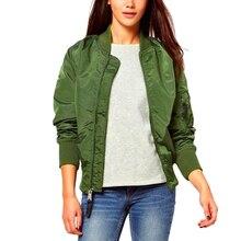Women Stand Neck Bomber Jacket Zipper Coat Long Sleeve Loose Soild Outwear