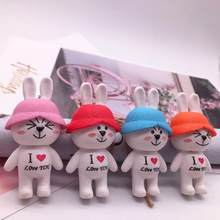 Cartoon Animal Cute Bunny Keychain Women Girls Purse Bag Key Ring Accessories Rabbit Pendant Car Trinkets Key Chains Wholesale(China)