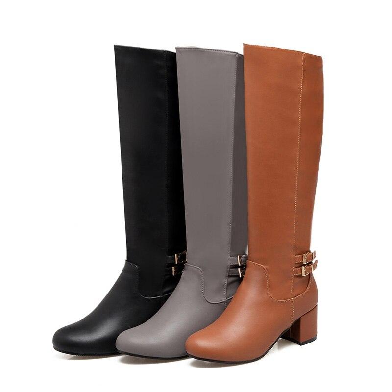 Noir Peluche Femme Wetkiss gris En Taille marron Épaisse Chevalier 34 Plus Femmes Genou Talons Sangle Chaud Bottes Haute Chaussures Boucle D'hiver 2018 43 qqgSRr