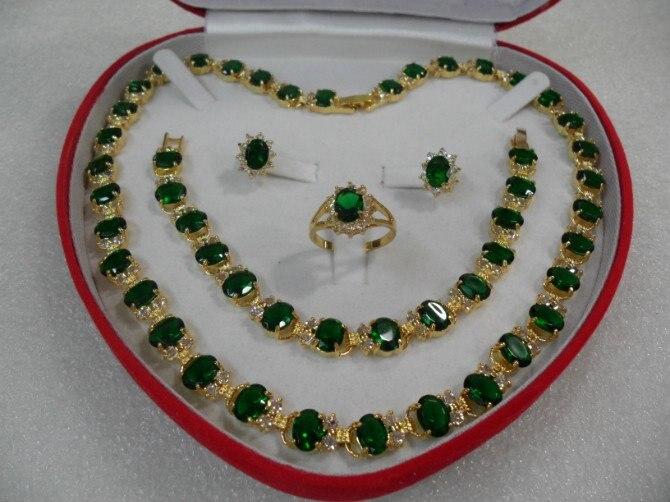 Свадебная мода ювелирные изделия Женская красивая мода камень ожерелье и браслет и серьги и кольцо Набор 925 серебро