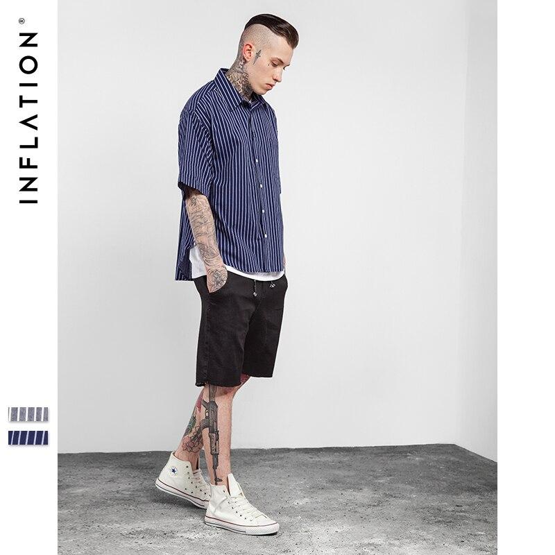 INFLATION 2017 New Style Summer Hip Hop Shirts Man Hot Selling Oversize Zipper Stripe Shirt Fashion Street Wear Short Sleeve