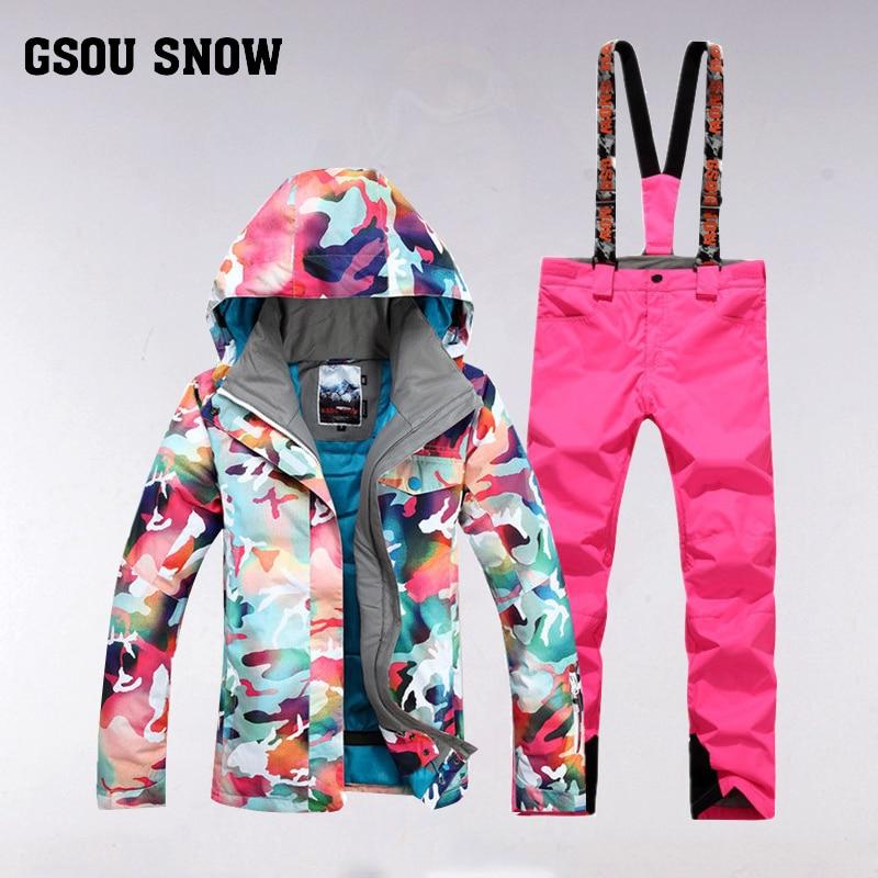 GSOU SNOW combinaison de Ski femme hiver extérieur coupe-vent imperméable épais chaud respirant veste de Ski pantalon de Ski taille XS-L