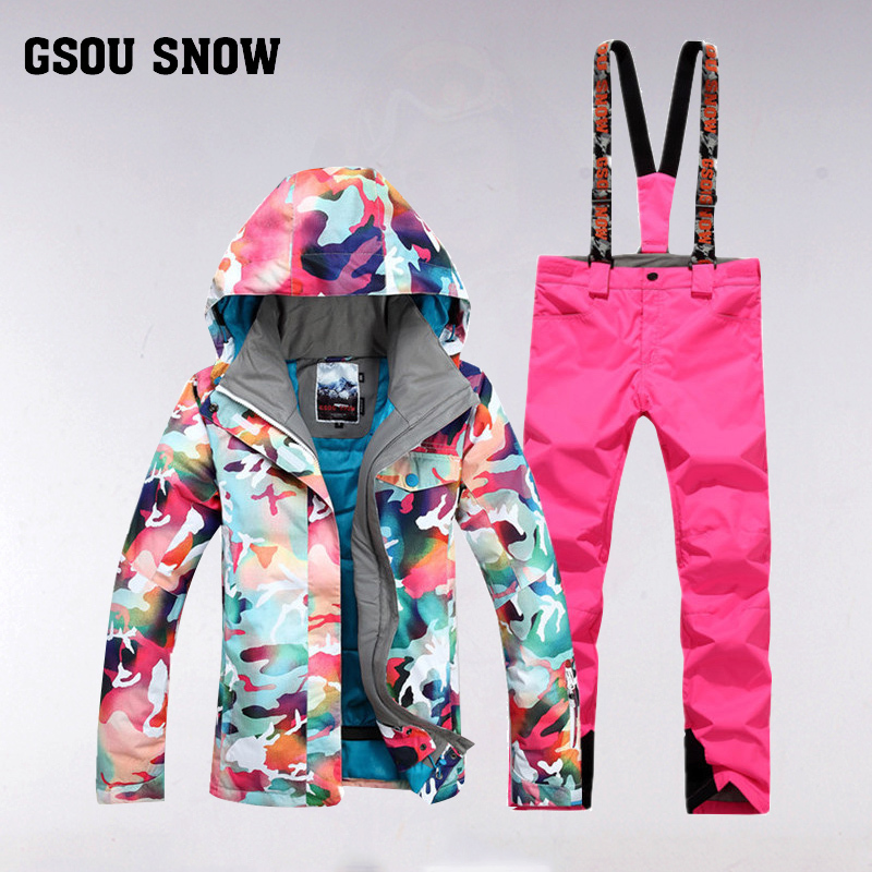 GSOU SNOW Women's Ski Suit Winter Outdoor Windproof Waterproof Thick Warm Breathable Ski Jacket Ski Pants Size XS-L