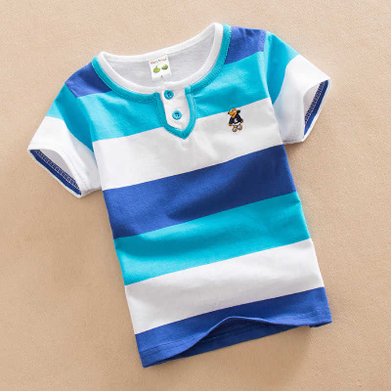 New 2018 Summer Boys Short Sleeve Striped T-Shirt kids summer clothing O-Neck No Fade boys t shirt Children Clothes 2-12 Years