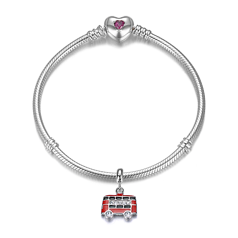 Top Quality Fashionable Red Enamel 925 Sterling Silver Double-Decker Bus Hanging Charm Fitting European Famous Bracelet
