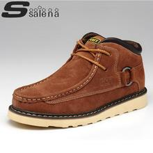 100% Genuine Leather Shoes Men Boots Winter Boots Classic Outdoor Brand Work Rubber Sole Shoes Hot Sell A196