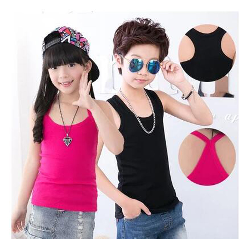 baby boys clothes girls summer cotton T-shirt  kids strap top Suspenders Vest girls clothes children shirt kids clothes 1-13Y