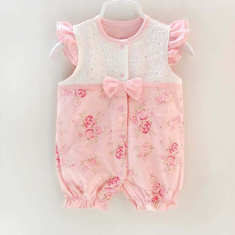 Newborn Sleeveless Rompers Baby Girl Clothes Kids Birthday Girls Lace Flower Rompers Princess Infant Bebes Jumpsuit Gifts