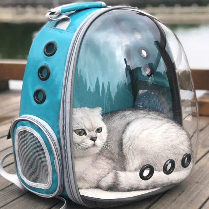 1 PCS Space Capsule Pet Bag Breathable Cat Outdoor Bag Portable Transparent Backpack Breathable Puppy Travel Bag Space Backpack