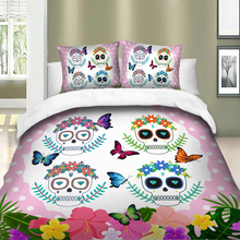 Wongsbedding Flower Skulls butterfly Bedding Set Colorful Duvet Cover Bedclothes Twin queen king size 3pcs dropship