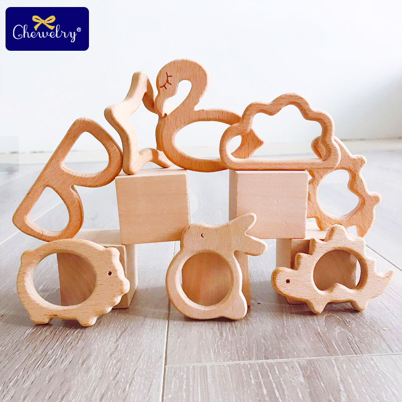 1PC Wooden Teether Baby Teething Toys Animal Pig Rodent Flamingo Beech Bracelet Pacifier Pendant For Children Goods Accessories