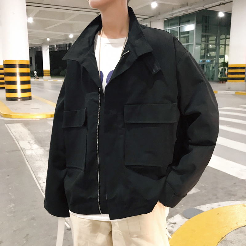 2018 automne nouveau hommes mode marée haute rue travail vêtements poche décoration lâche décontracté kaki/noir couleur vestes manteaux M-XL