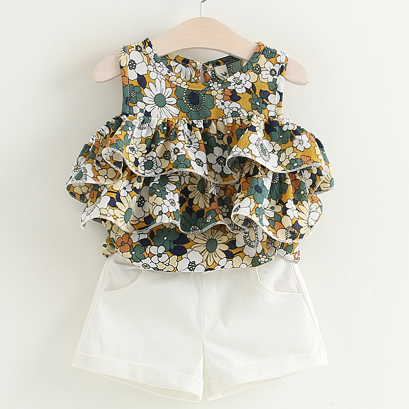 Melario Girls Sets 2019 New Popular Girl Children Clothing Sets Kids Sleevelessl O-Neck Floral Shirt+ White Pants 2Pcs Suit