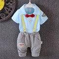 Новый 2016 лето turn down воротник футболки + брюки 2 шт. младенцев мальчиков наряды для новорожденного мальчика одежда набор vestido infantil
