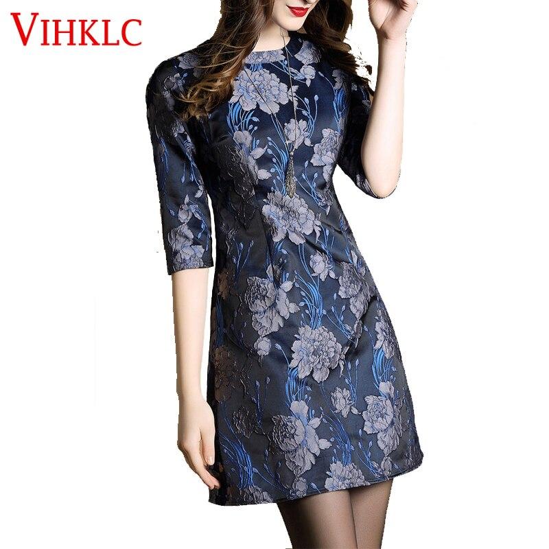 2018 New Brand Spring Summer Women Dress Prints 7 Points Sleeve Round Collar Slim Silk Fashion Dress Vestido De Festa FC112