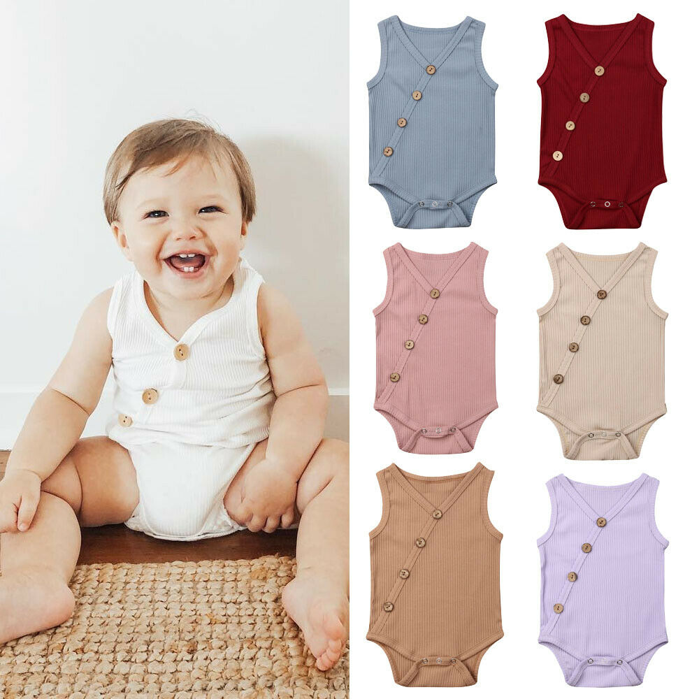 0-24M Baby Summer Clothing Newborn Toddler Boy Girl Solid Jumpsuit Cotton Sleeveless Button Romper Outfits Casual Rib Playsuit