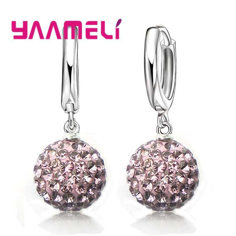 Hot Sale Multicolors One Pair 925 Sterling Silver Austrian Crystal Pave Disco Ball Hoop Lever back Earring Women Jewelry